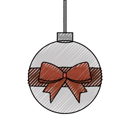 Christmas ball wrapped ribbon.