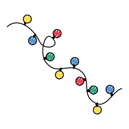 Garlands Christmas decorations lights effects design. 向量圖像
