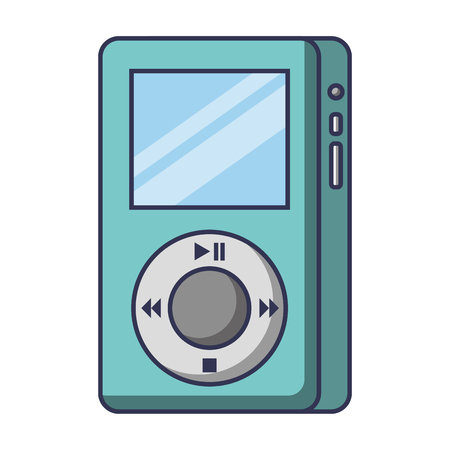 Mp player device for listening to music vector illustration