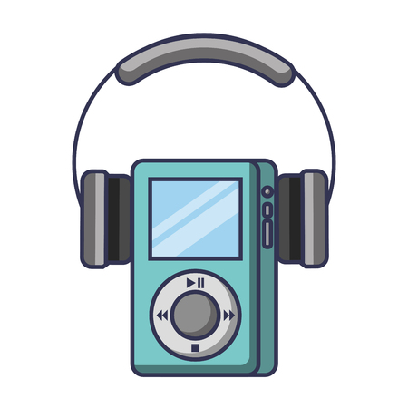 Multimedia mp player and headphones display button vector illustration Illustration