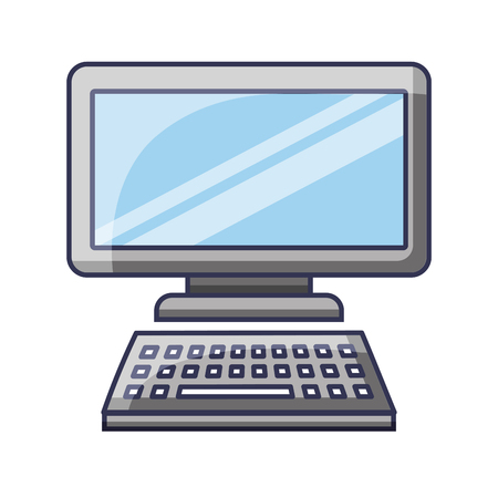 Computer monitor with keyboard technology gadget template vector illustration