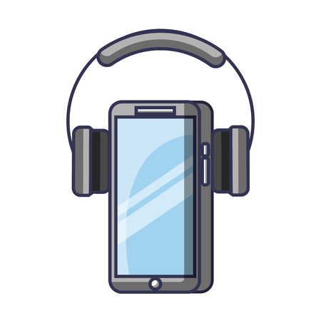 Mobile phone and headphones gadget technology vector illustration 向量圖像