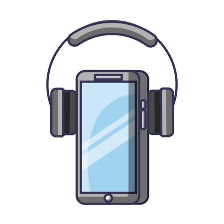 Mobile phone and headphones gadget technology vector illustration Illustration