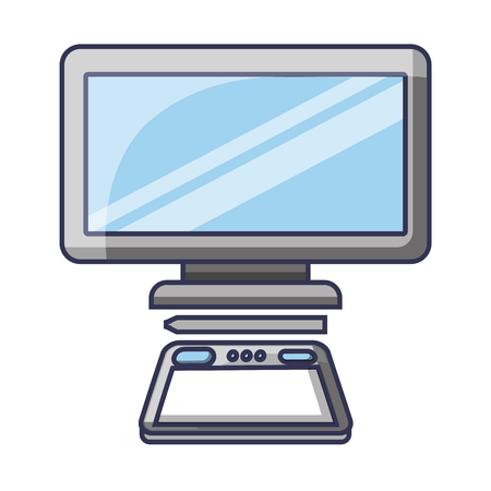 Graphic tablet computer gadget designer tool vector illustration