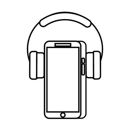 Mobile phone and headphones gadget technology vector illustration Ilustração