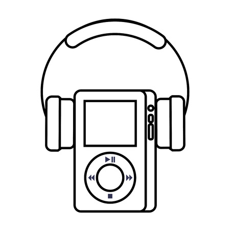 Multimedia mp player and headphones display button vector illustration Ilustração