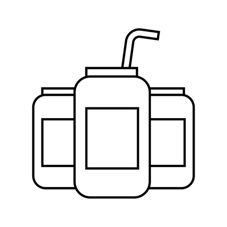 beverages in energy drink cans with straw vector illustration Illustration
