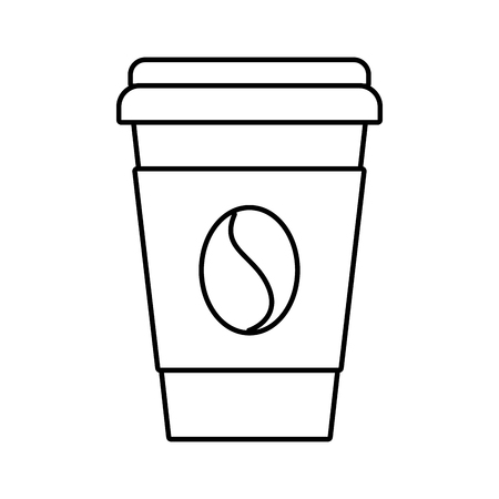 Paper coffee cup bean fresh beverage vector illustration