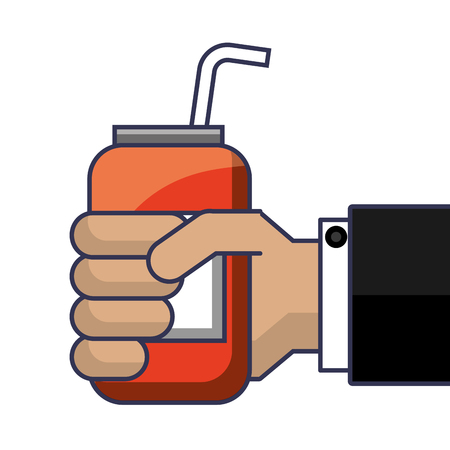 hand holding drink energy can straw vector illustration