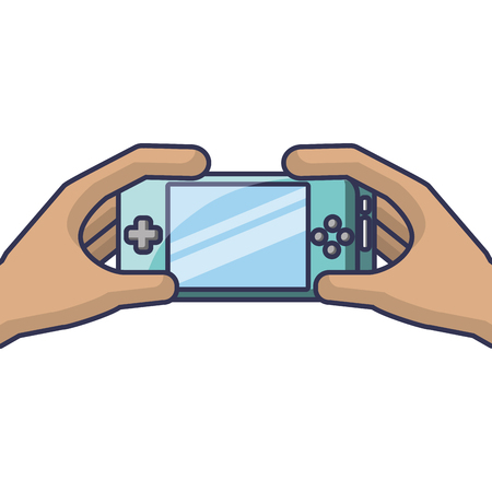 hands holding mobile game console gadget vector illustration Stock Vector - 89699856