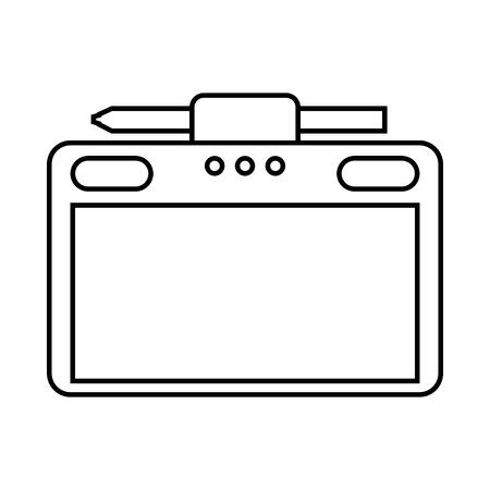 Grafische tablet met pen vectorillustratie
