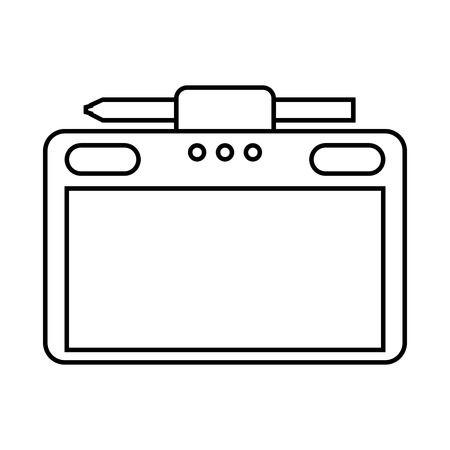 Graphic tablet with pen vector illustration Ilustrace