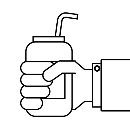 Hand holding drink with straw vector illustration
