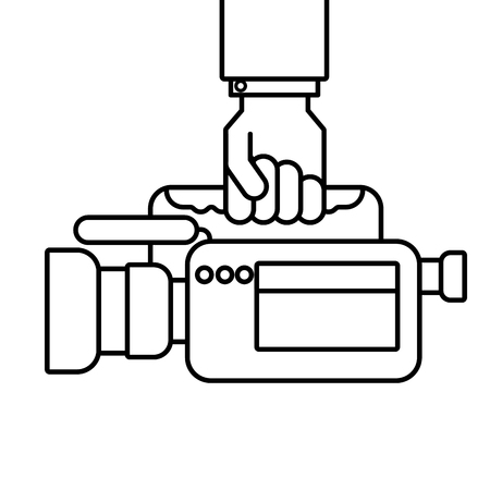 Hand holding camcorder equipment vector illustration.