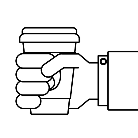 Hand holding coffee cup vector illustration.