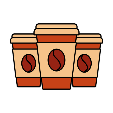 Set of three paper coffee cups vector illustration. Illustration