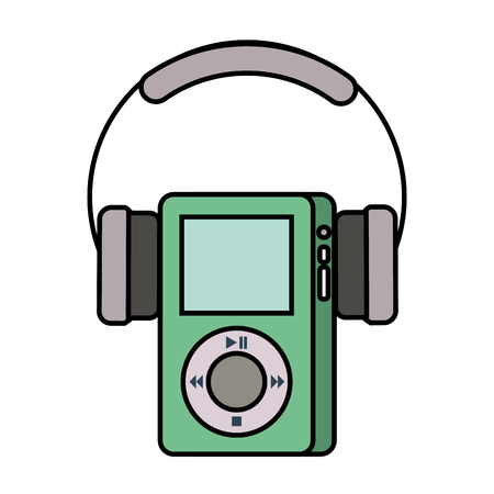 multimedia mp player and headphones display button vector illustration
