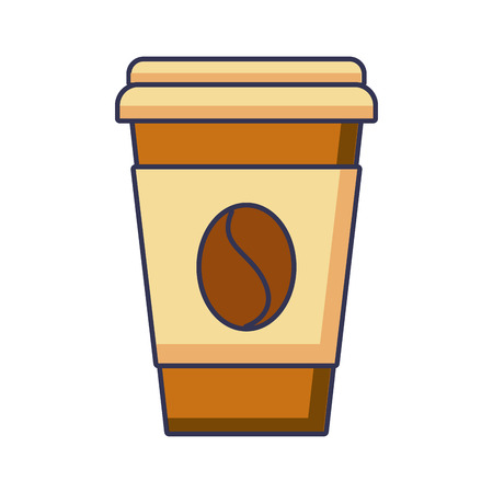 paper coffee cup bean fresh beverage vector illustration 向量圖像