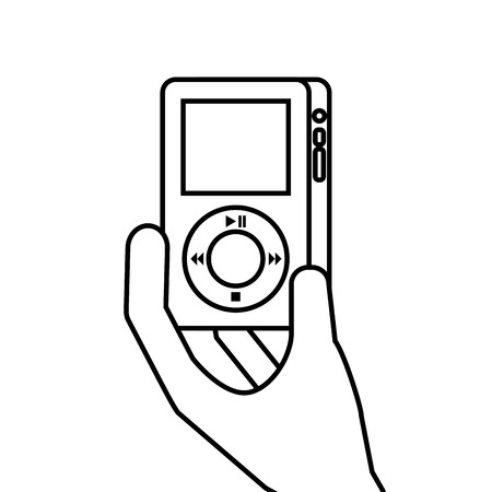 hand holding mp player gadget display modern technology vector illustration Illustration