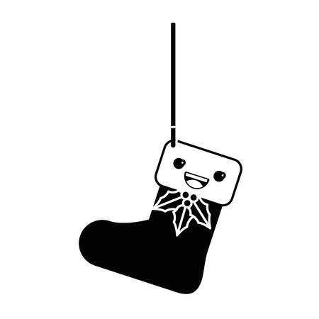 christmas sock hanging  character vector illustration design Illustration