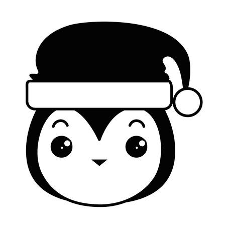 cute penguin head with christmas hat   vector illustration design Illustration