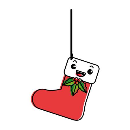 Hängendes Charaktervektor-Illustrationsdesign der Weihnachtssocke Standard-Bild - 89866029
