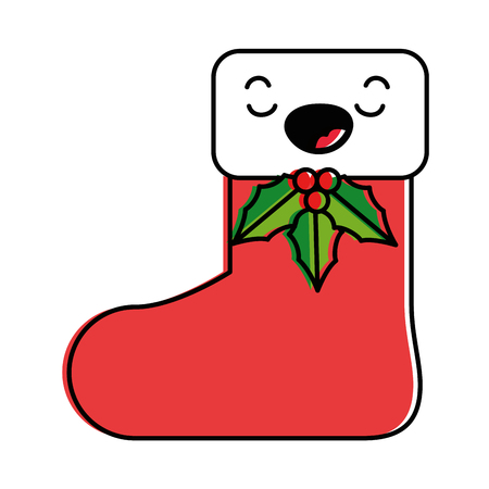 christmas sock  character vector illustration design