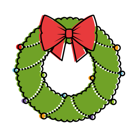 christmas crown with bown decorative vector illustration design