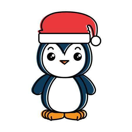 cute penguin with christmas hat kawaii vector illustration design