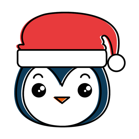 cute penguin head with christmas hat kawaii vector illustration design Illustration
