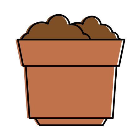 garden pot with earth vector illustration design