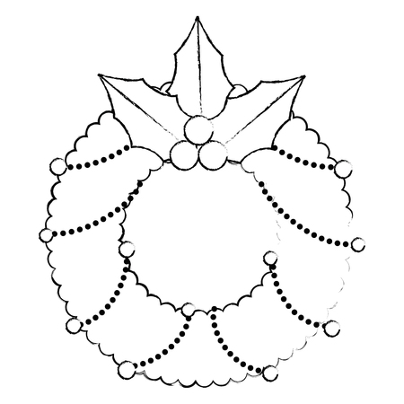 christmas crown with leafs decorative vector illustration design