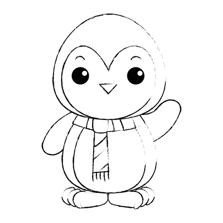 cute penguin with christmas scarf kawaii vector illustration design Çizim