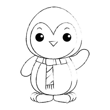 cute penguin with christmas scarf kawaii vector illustration design Illustration
