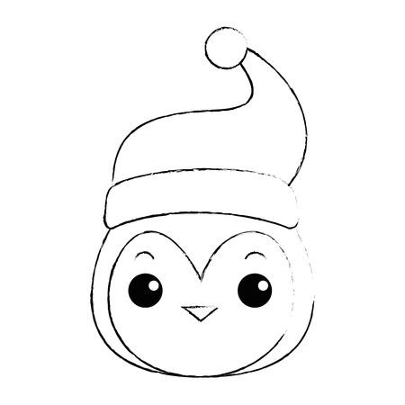 cute penguin head with christmas hat  character vector illustration design Ilustração