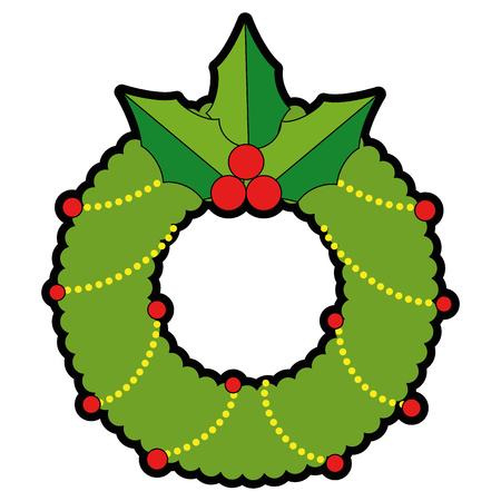 christmas crown with leafs decorative vector illustration design Stock Vector - 89817222