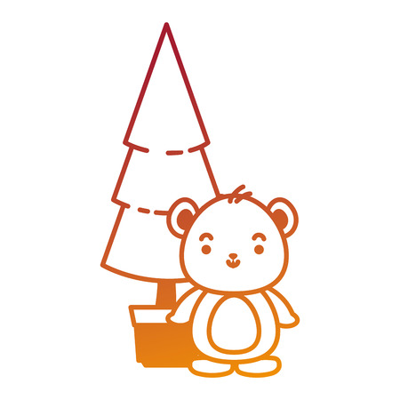 cute bear teddy with pine  character vector illustration design