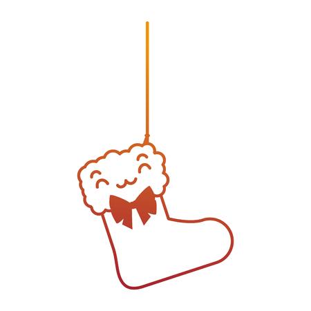 Hängendes Charaktervektor-Illustrationsdesign der Weihnachtssocke Standard-Bild - 89870895