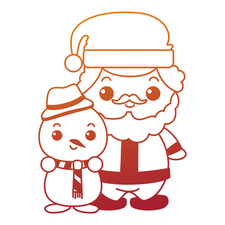 cute santa claus with snowman  characters vector illustration design