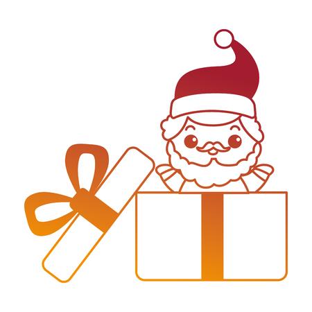 cute santa claus in giftbox character vector illustration design Illustration