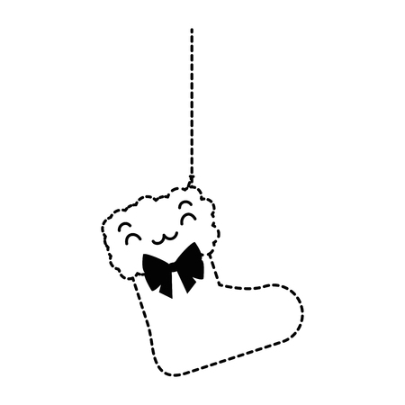 Charakter-Vektorillustrationsdesign der Weihnachtssocke hängendes Standard-Bild - 89855614
