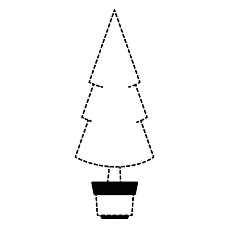 christmas tree in pot vector illustration design
