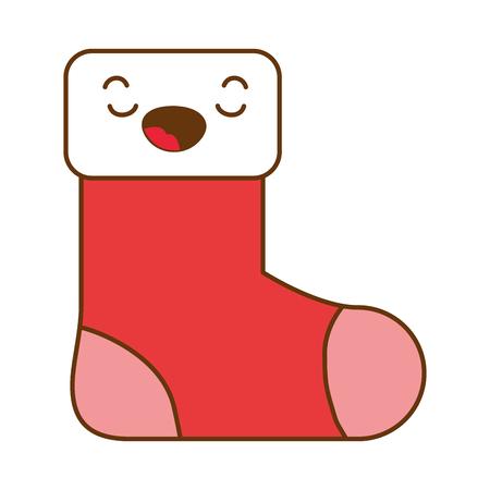 christmas sock kawaii character vector illustration design Ilustração
