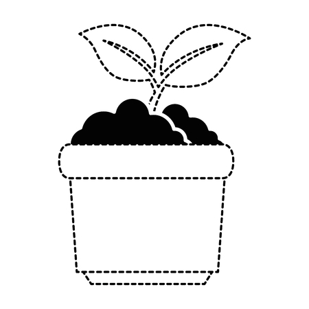 garden pot with plant vector illustration design Ilustração