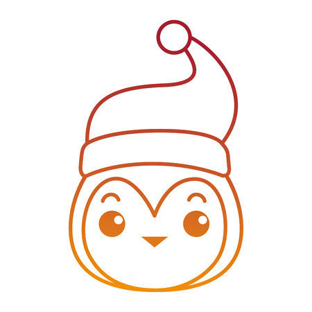 cute penguin head with christmas hat  vector illustration design