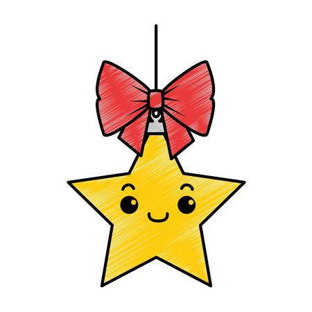 christmas star hanging  character vector illustration design