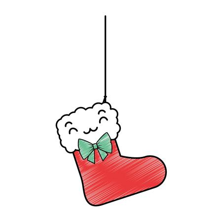 Charakter-Vektorillustrationsdesign der Weihnachtssocke hängendes Standard-Bild - 89858523
