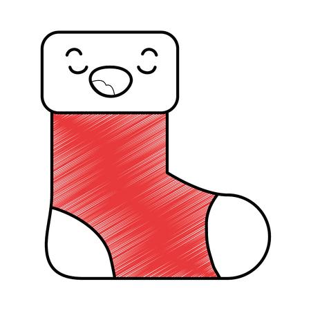 Weihnachtssocke kawaii Charaktervektor-Illustrationsdesign Standard-Bild - 89850811