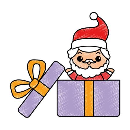 cute santa claus in giftbox