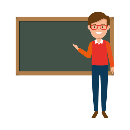 teacher male with chalkboard avatar character vector illustration design  イラスト・ベクター素材